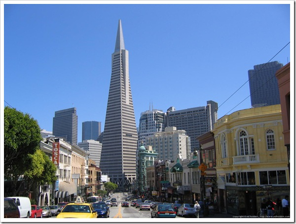 20050704-031 - Transamerica Pyramid and Sentinal Building on Columbus Ave, San Francisco-3