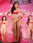 Chung kết Hoa hậu Việt Nam 2012 - Lê Phúc Hồng Châu, SBD 172. Cao 1,72m. Số đo ba vòng 85-64-91.
