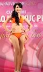 Chung kết Hoa hậu Việt Nam 2012 - Phan Thị Mơ, SBD 205. Cao 1,72m. Số đo ba vòng 80-63-90.