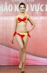Chung kết Hoa hậu Việt Nam 2012 - Võ Hoàng Yến SBD 235. Cao 1,70m. Số đo ba vòng 82-58-88.